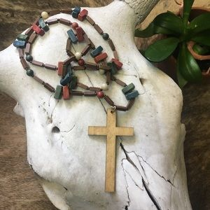 Vintage 70's resin and wood Boho Rosary